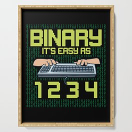 Computer Programmer: Binary It's Easy As 1 2 3 Serving Tray
