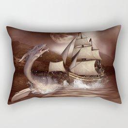 Awesome seadragon with ship Rectangular Pillow