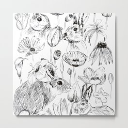 rabbits and flowers parties Metal Print