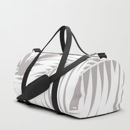 Palm Tree Fronds White on Soft Grey Hawaii Tropical Décor Duffle Bag