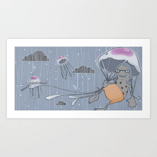 Rainstorm-blue Art Print