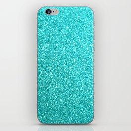 Aqua Blue Glitter iPhone Skin