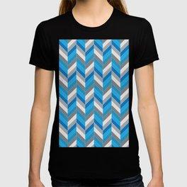 Harmaa ja sininen T-shirt