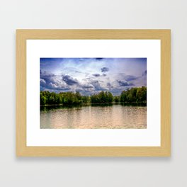 Concept nature : Relaxing by a lake Framed Art Print