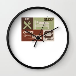 Eat Sleep Coffee Brewing Repeat Beans Caffeine Robusta Beverages Coffee-Berry Gift Wall Clock