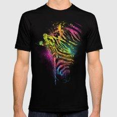 Zebra Mood Technicolor MEDIUM Black Mens Fitted Tee