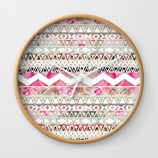 Aztec Spring Time! | Girly Pink White Floral Abstract Aztec Pattern Wall Clock
