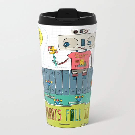 Even robots fall in love Metal Travel Mug