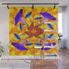 Purple & Gold Floral Design Wall Mural