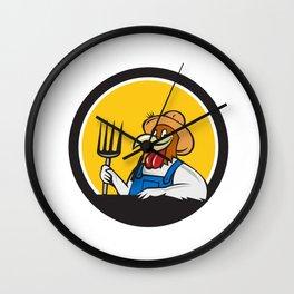 Chicken Farmer Pitchfork Circle Cartoon Wall Clock