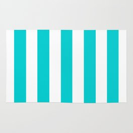 Dark turquoise - solid color - white vertical lines pattern Rug