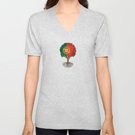 Vintage Tree of Life with Flag of Portugal Unisex V-Neck