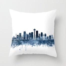 Seattle City Skyline Watercolor Blue by Zouzounio Art Throw Pillow