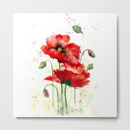 Watercolor flowers of aquarelle poppies Metal Print
