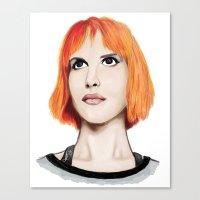 hayley williams Canvas Prints featuring Hayley Williams by Jayde Tayla