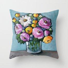 Beautiful Day Bouquet Throw Pillow