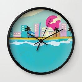 Retro 1980s Miami cartoon seafront Wall Clock