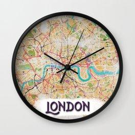 Watercolor Map of London Wall Clock