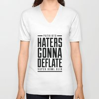 patriots V-neck T-shirts featuring Patriots Haters Gonna Deflate B/W by PatsSwag