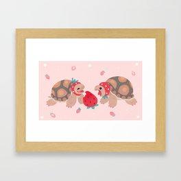 Tortoises love strawberries Framed Art Print