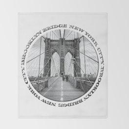 Brooklyn Bridge New York City (black & white with text) Throw Blanket