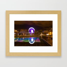 Budapest Eye Ferrish Wheel, Colorful Night Photography, Urban Cityscape Print Framed Art Print