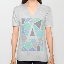 Letter A Geometric Shapes in Cool Colors Unisex V-Neck