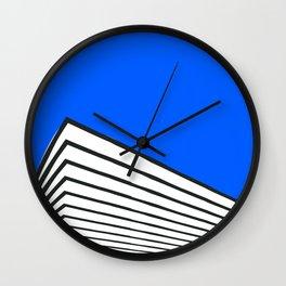 Geometric abstract blue skyline Wall Clock
