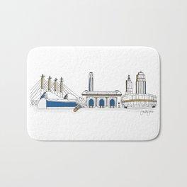 Kansas City Skyline Illustration in KC Royals Colors Bath Mat