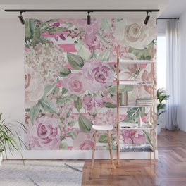 Country chic watercolor pastel green pink geometric floral Wall Mural
