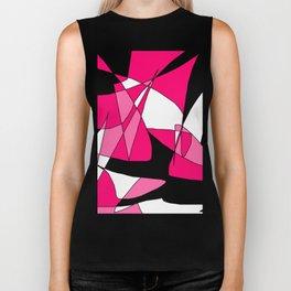 Windy Peaks - Abstract Pinks on Black Biker Tank