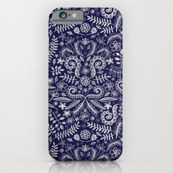 Chalkboard Floral Doodle Pattern in Navy & Cream iPhone & iPod Case