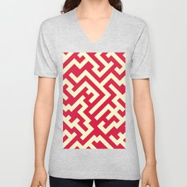 Cream Yellow and Crimson Red Diagonal Labyrinth Unisex V-Neck