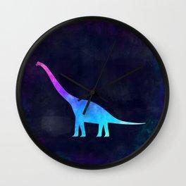 BRACHIOSAURUS IN SPACE // Animal Graphic Art // Watercolor Canvas Painting // Modern Minimal Cute Wall Clock