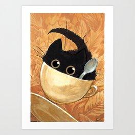 Café Kitty - Fall Art Print