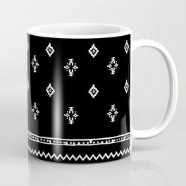 Rhombus & Lines White on Black Coffee Mug