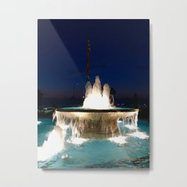 The Flag and the Fountain at Night Metal Print