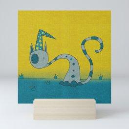 Bluish Magician Cat Mini Art Print