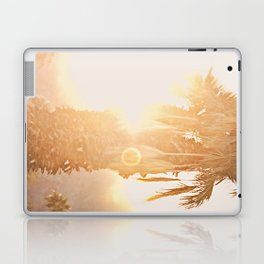 California Fine Art Print Yellow, Peach, Cream La Quinta Palm Tree Photograph - Desert Sunset  Laptop & iPad Skin