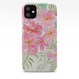 Tropical Pink Hibiscus Watercolor Flowers iPhone Case