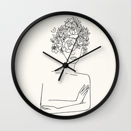 Woman With Floral Head Minimal Line Art #society6 #buyart Wall Clock
