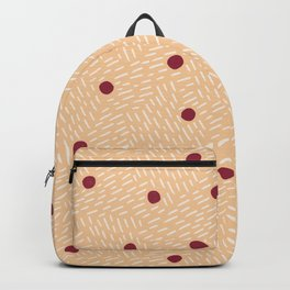 Polka dots and dashes // peach and burgundy Backpack
