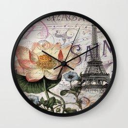 french scripts lotus floral vintage paris eiffel tower Wall Clock