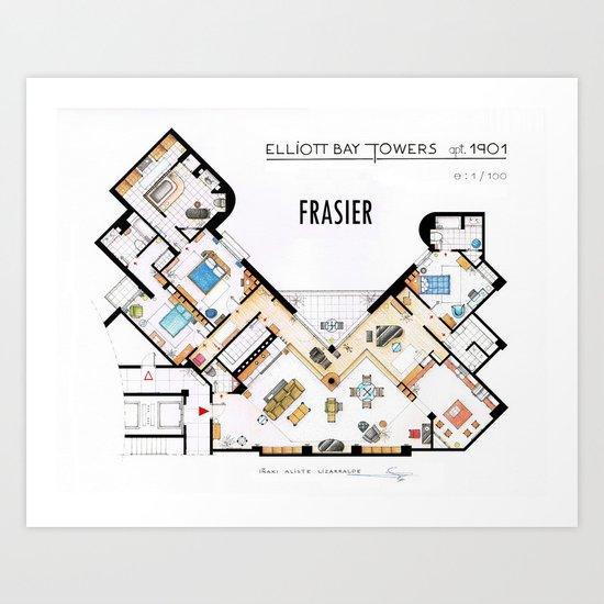 Frasier's Apartment Houseplan - V.2 Art Print