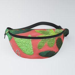 tropical leaves embroidered pattern Fanny Pack