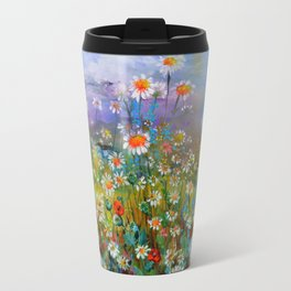 Poppies and Daisies - Flowers Field Painting Travel Mug