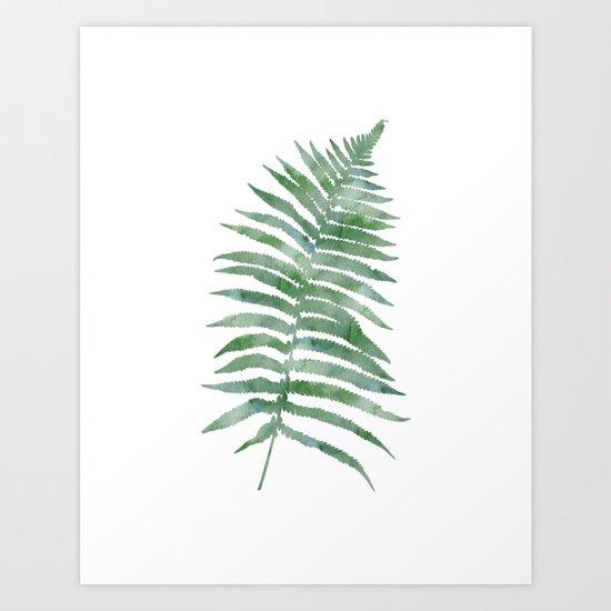 Tropical Olive Green Botanical Fern Art Print