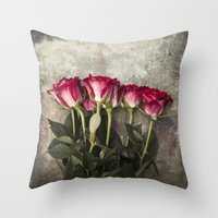 roses Throw Pillows featuring Roses by Maria Heyens