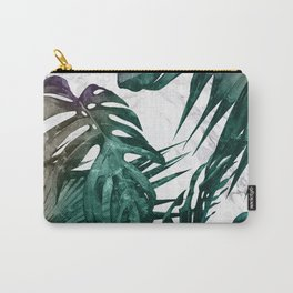 Tropical Palm Leaves on Marble Carry-All Pouch