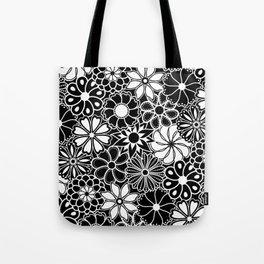 Mid Century Hawaiian Flower Print - Black and White Tote Bag